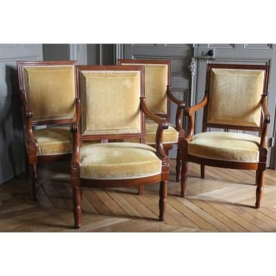 Series Of Four Armchairs Stamped By Jean-pierre Louis