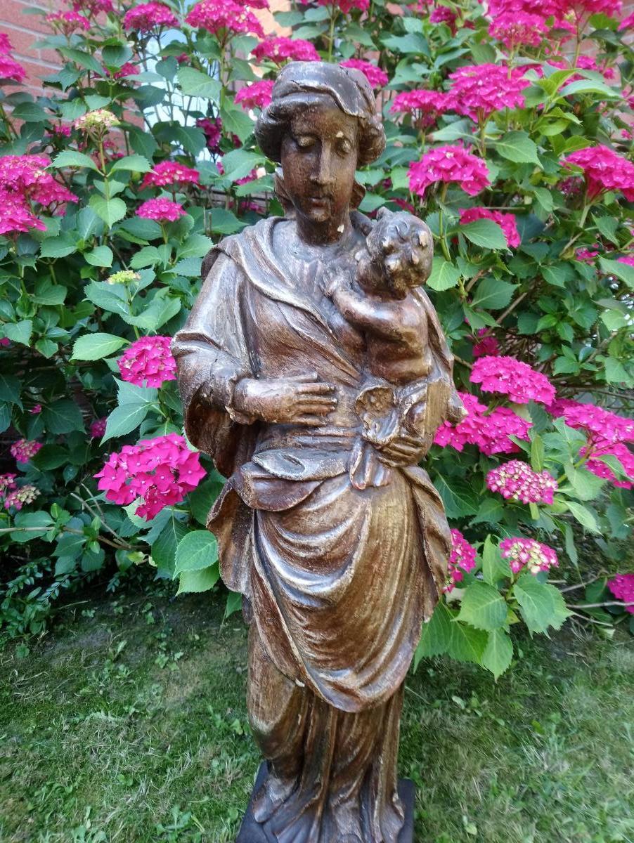 Bois Sculpté Du XVIIIe , Vierge à l'Enfant