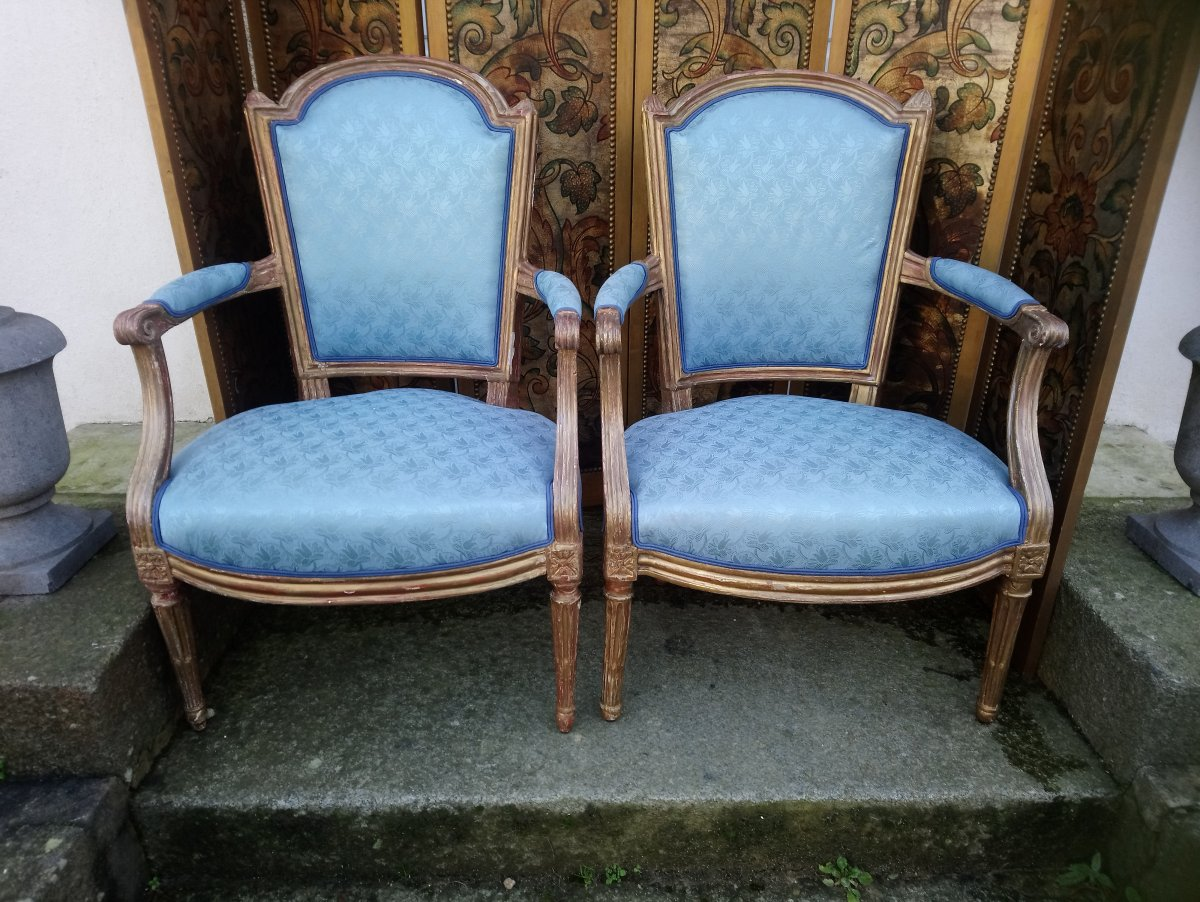 Two Louis XVI Armchair In Golden Wood Can Pair