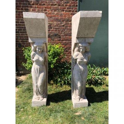 Pair Of Large Plaster Caryatids Around 1930