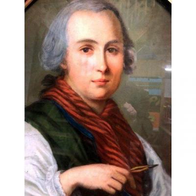 Portrait d'homme au  Pastel d'époque Empire