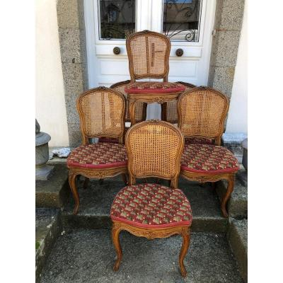 Suite Of Six Louis XV Style Chairs In Natural Beech
