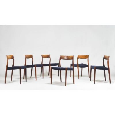 Set Of 6 Chairs Model 77, Niels Otto Møller For Jl Møllers. Denmark C. 1960