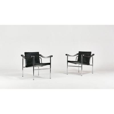Paire de fauteuils Lc1, Le Corbusier pour Cassina. C.1960