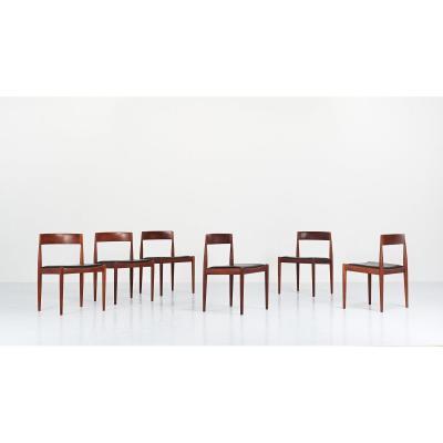 """Kai Kristiansen, suite de six chaises """"4110"""" pour Fritz Hansen. Danemark, C.1960"""