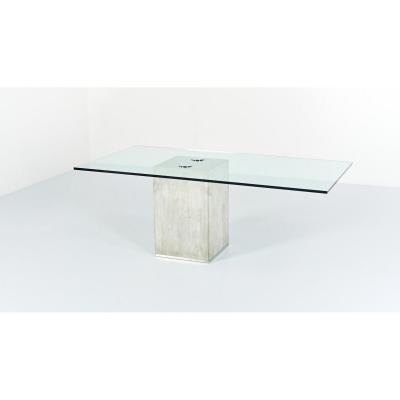 "Sergio & Giorgio Saporiti, "" Sapo"" Glass And Concrete Dining Table. C.1970"