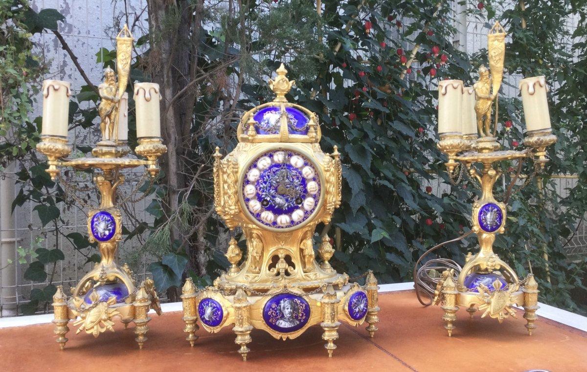 Garniture De Cheminée Napoleon III Style Violet Le Duc