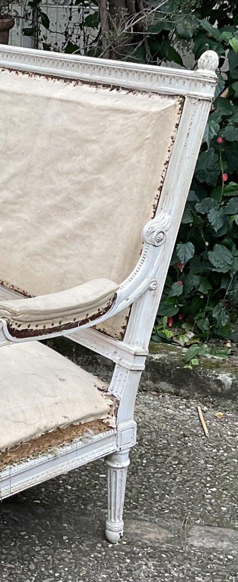 Canapé Louis XVI Laqué Blanc Modèle de Georges Jacob -photo-7