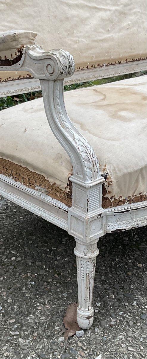 Canapé Louis XVI Laqué Blanc Modèle de Georges Jacob -photo-8