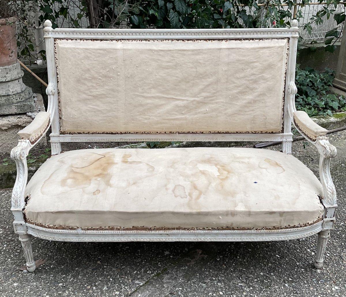 Canapé Louis XVI Laqué Blanc Modèle de Georges Jacob