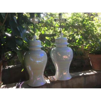 Grande Paire De Lampe En Céramique Blanche Nacrée