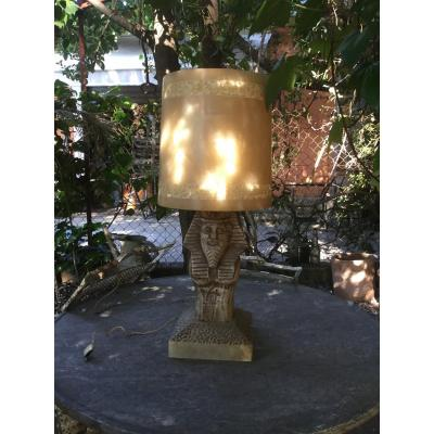 Pharaonic Lamp In Alabaster Around 1920/30