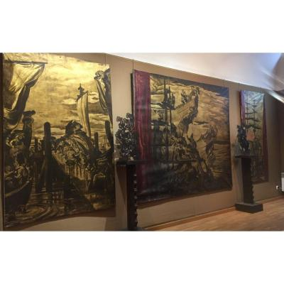 "Series Of 3 Large Oil On Canvas On Gold Background ""the Praise Of The Basque People"""