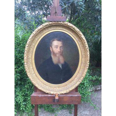 Portrait Homme Fin XIX éme Dans Son Encadrement daté 1877