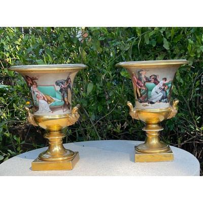 Paire De Vases Charles X En Porcelaine De Paris