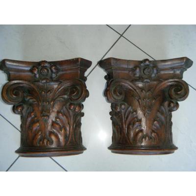 Paire De Chapiteaux Corinthiens En Chene Sculpté