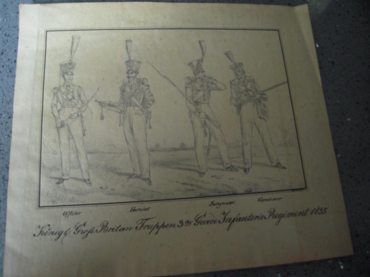 Paire De Dessins Sur l' Infanterie Et La Cavalerie Britannique En 1835