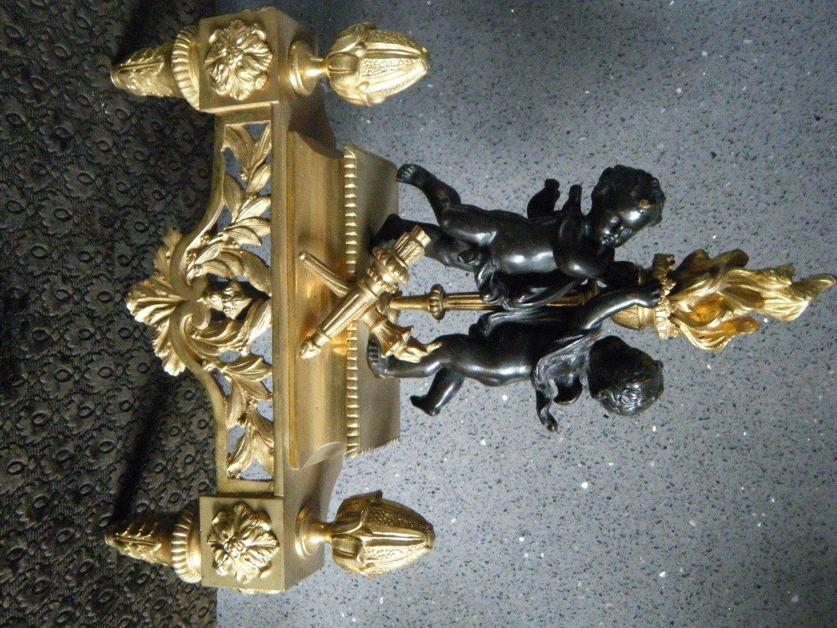 Paire De Chenets Aux Angelots -photo-2