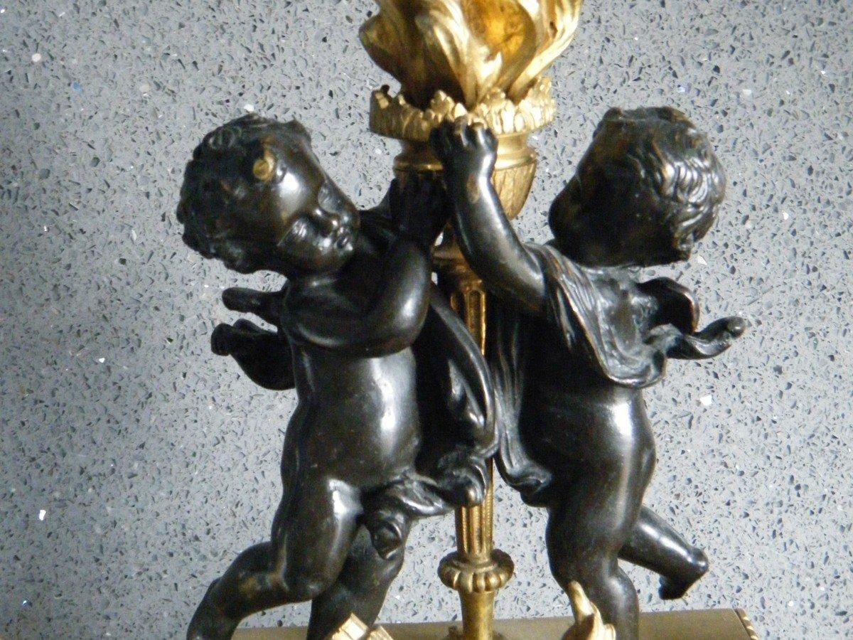Paire De Chenets Aux Angelots -photo-1