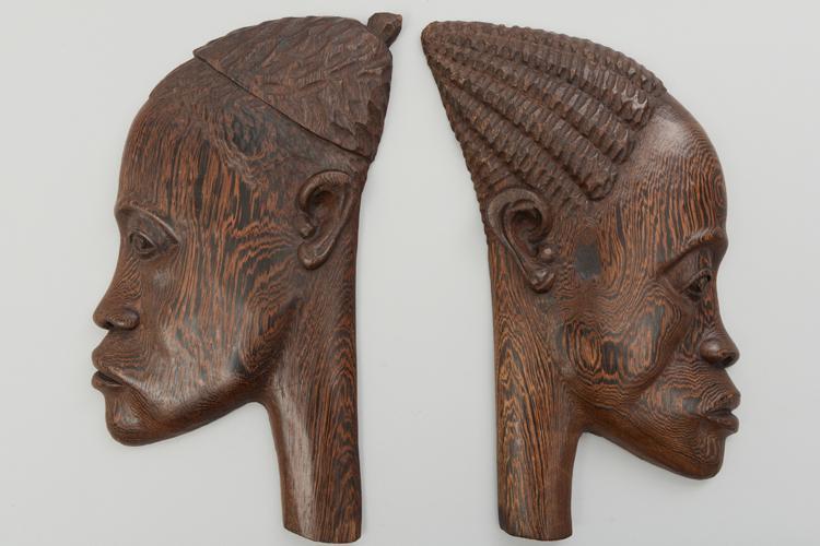 Paire De Tetes Africaines sculptures bois # Sculpture Africaine En Bois