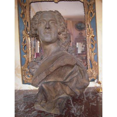 A Terracota Bust . Of Coypel Painter Of The King