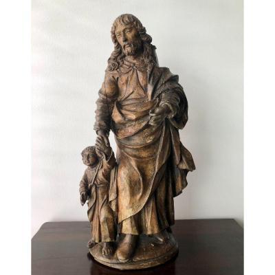 Saint Joseph Avec Enfant - Sculpture En Bois