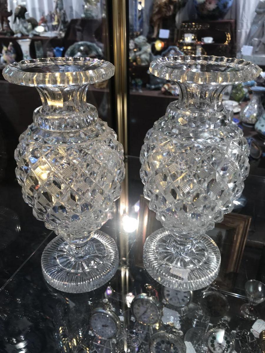 Paire De Vases En  Cristal  Taillés Du Creusot 19eme
