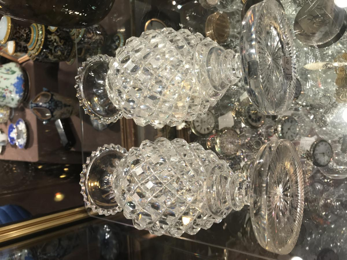 Pair Of Vases Crystal Carved Creusot 19th-photo-3