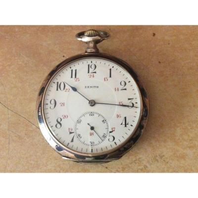 Zenith Brand Gusset Watch In Silver And Niello Gold Art Nouveau