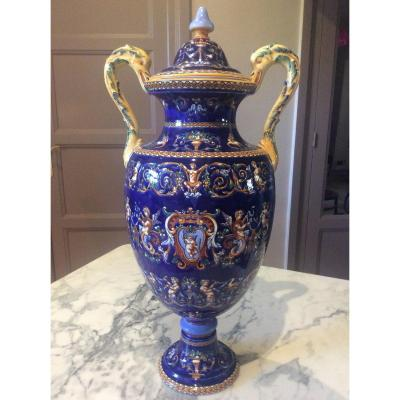Large Polychrome Gien Vase And Its Renaissance Decor Lid On A Blue Background.