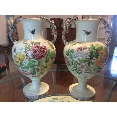 Pair Of Polychrome Earthenware Vases With Flower Decor Signed Mont-chevalier L.castel In Cannes.