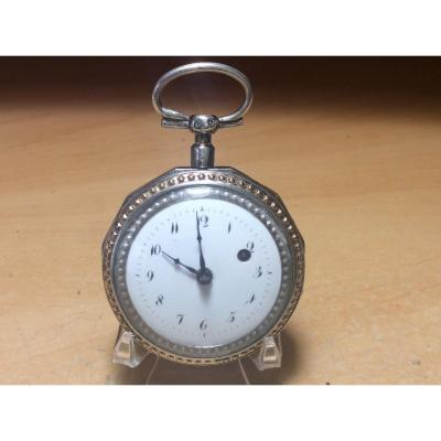 Pocket Or Pocket Watch In Silver And Gold Rooster Movement.