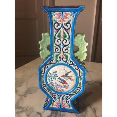 Vase Flambeau  Polychrome En émaux De Longwy à Cartel Rond D'oiseaux Branchés Et Florale.