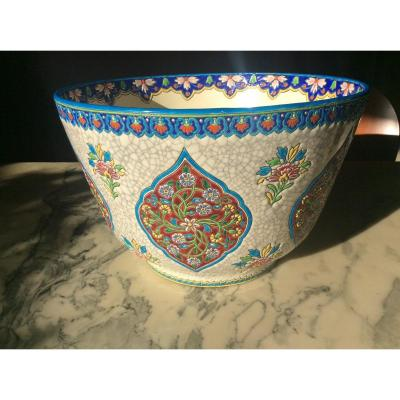 Cachepot In Gien Enamels With Cartouche Decor Of Polychrome Flowers On A White Cracked Background.