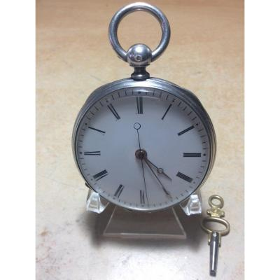 Pocket Watch Or Pocket In Sterling Silver With Independent Second And Cylinder Escapement.