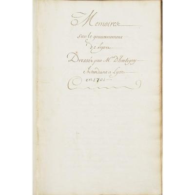 [manuscrit] Mémoire Sur Le Gouvernement De Lyon