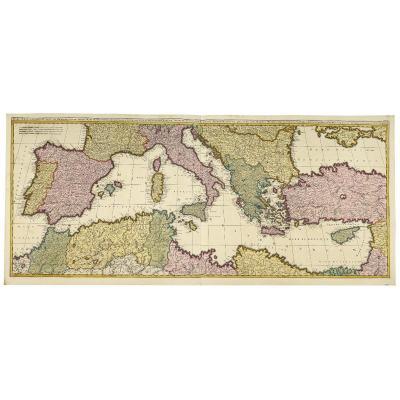 Mare Mediterraneum, Exhibens Ora Hispaniæ, Galliæ, Italiæ, Mare Hadriaticum