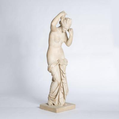 French Art Nouveau Female Plaster-stone Sculpture, Stamped