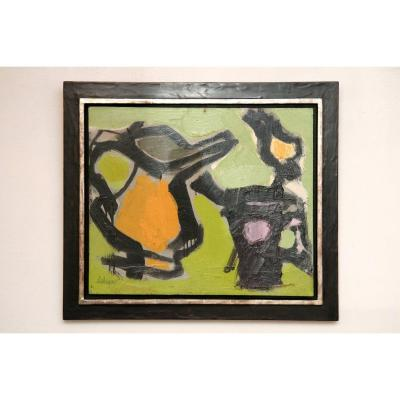 Abstract Painting Serge Labégorre, Professionally Framed