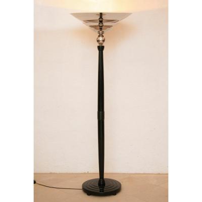 Art Deco Floor Lamp Black Lacquer, Re-nickeled Metal Parts