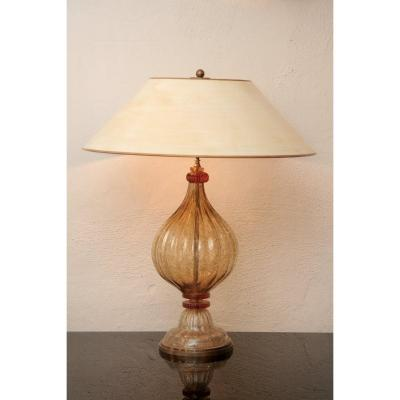Beautiful, Large Murano Glass Table Lamp Gold-orange