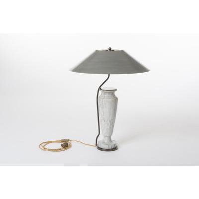 Lampe de table classique en marbre - Abat-jour gris peint à la main