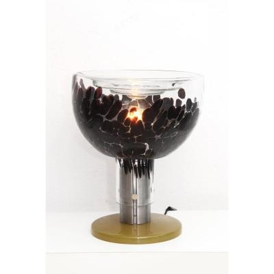 Extraordinary Italian Violet-Transparent Murano Glass Table Lamp from the 1960s