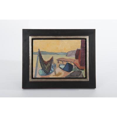 Painting Marine Oil On Wood, Profesionally Framed