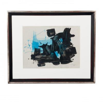 Gouache abstraite aux couleurs turquois-noir par Ricardo Santamaria