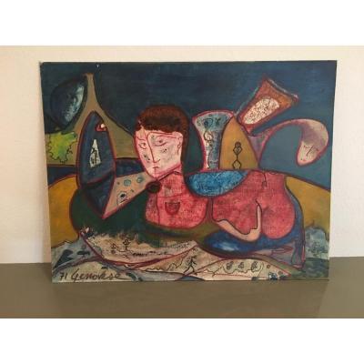 Abstrait - Peinture Surréaliste Acrylique Sur Carton Par B. Genovese