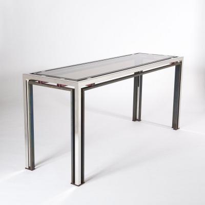 Table Console Mid-Century Chromée et Bronzée, Italie par Romeo Rega