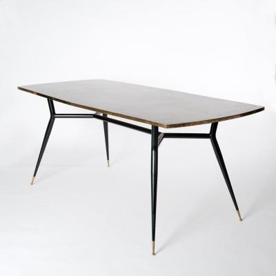 Midcentury Italian Sputnik Legs Dining Room Table, Desk - With Bronze Veneer Top