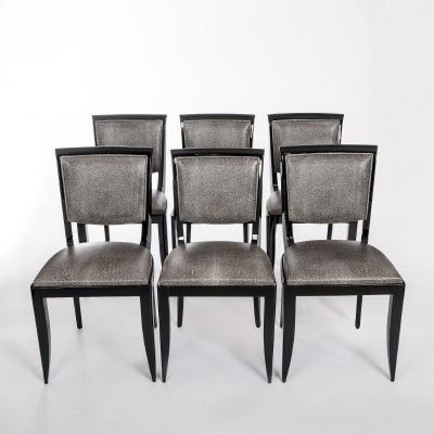 Six Chaises de Salle à Manger Art Déco Noires Cuir