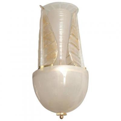 Lustre italien en verre de Murano doré du milieu du siècle avec des feuilles enlacées